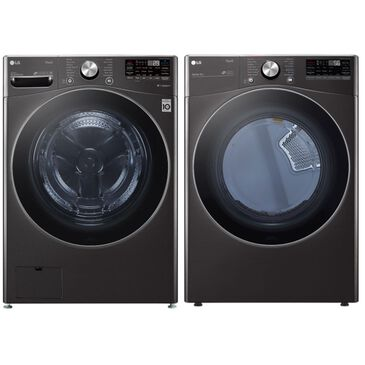 LG 5.0 Cu. Ft. Front Load Washer and 7.4 Cu. Ft. Electric Dryer with TurboWash 360 Laundry Pair in Black Steel, , large