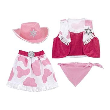 Melissa & Doug Cowgirl Role Play Costume Set in Pink and White, , large