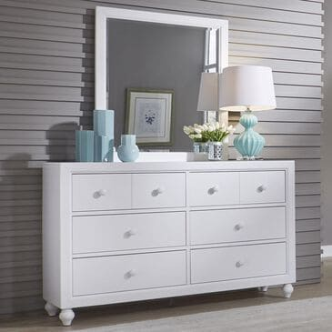 Belle Furnishings Cottage View 6 Drawer Dresser & Mirror in White, , large