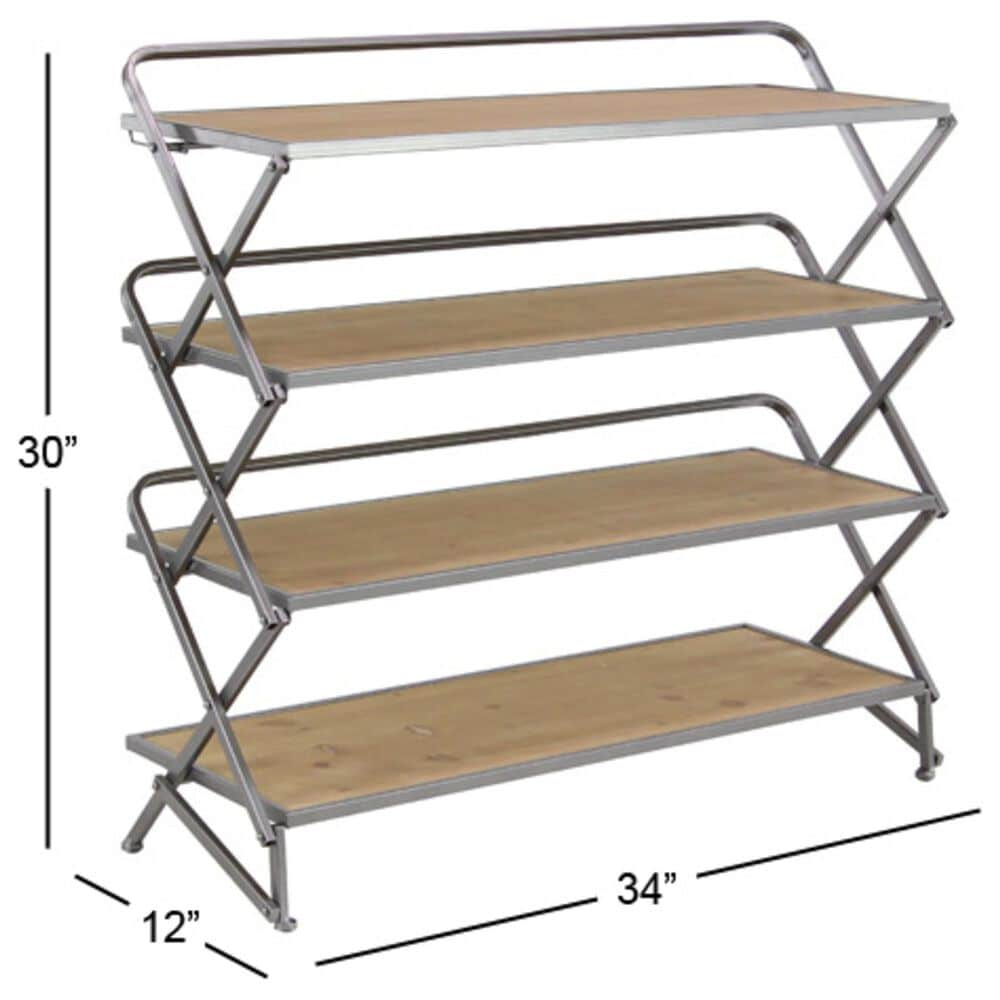 """Maple and Jade 30"""" x 34"""" 4-Tiered Shelf in Brown, , large"""