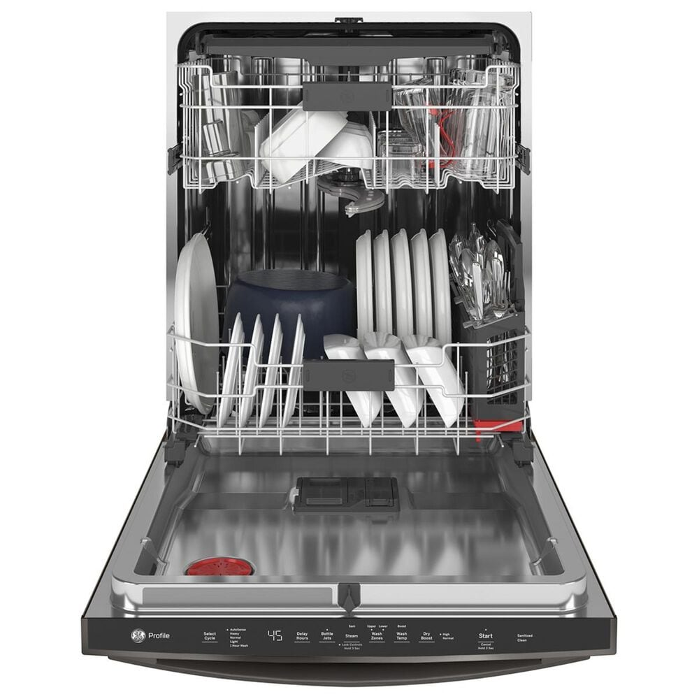 """GE Profile 24"""" Interior Dishwasher with Hidden Controls in Black Slate, , large"""