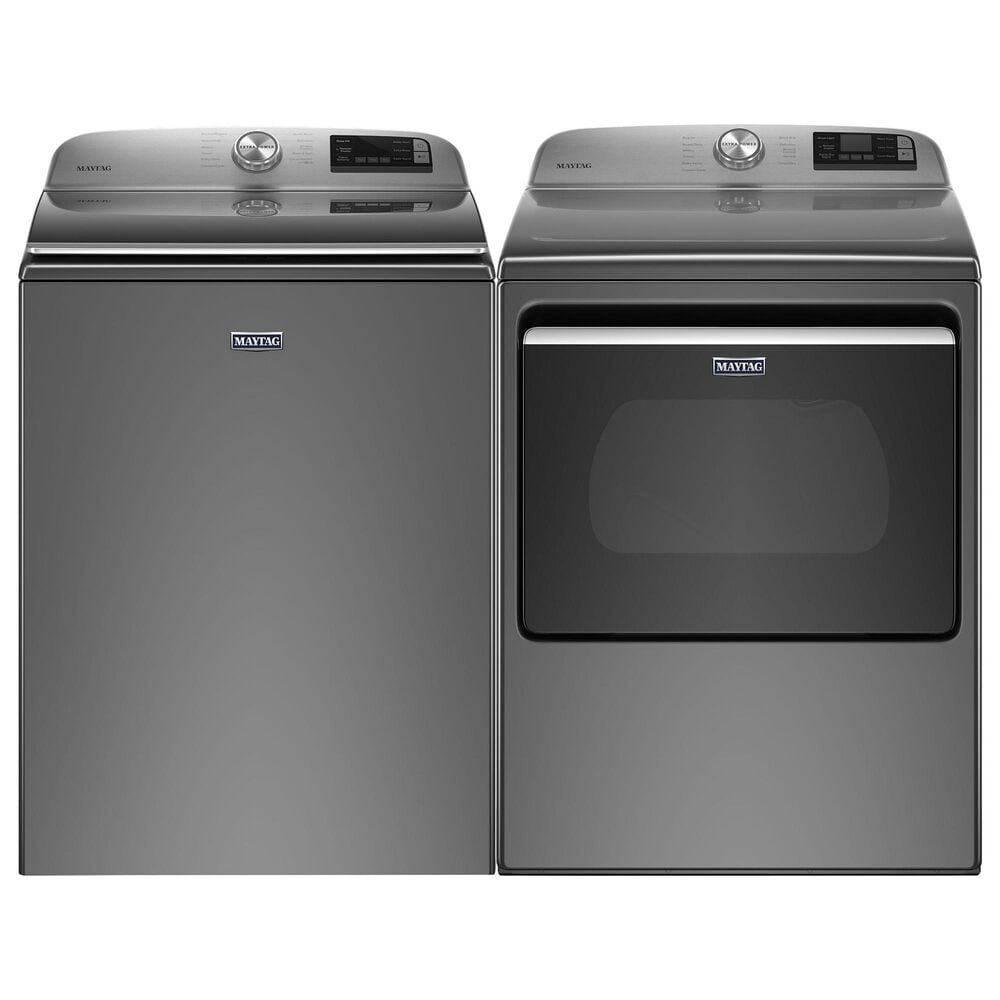 Maytag 4.7 Cu. Ft. Top Load Washer and 7.4 Cu. Ft. Electric Dryer Laundry Pair in Metallic Slate, , large