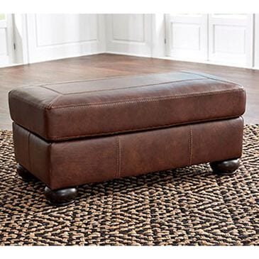 Signature Design by Ashley Bearmerton Leather Ottoman in Vintage Brown, , large