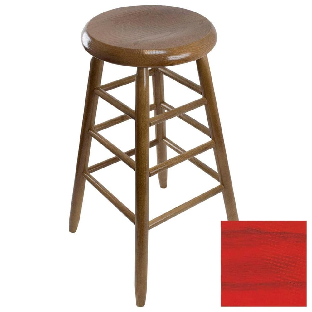 Lakeside Garland Round Barstool in Woodleaf Red, , large