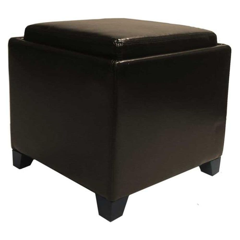 Blue River Brown Bonded Leather Storage Ottoman with Tray, , large