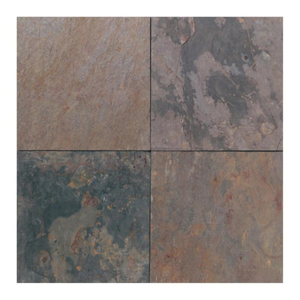 "Dal-Tile Slate 12"" x 12"" Natural Cleft Stone Tile in Indian Multicolor, , large"