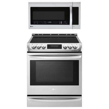 LG 2-Piece Kitchen Package with 6.3 Cu. Ft. Electric Range and 2.0 Cu. Ft. Over-the-Range Microwave Oven in Stainless Steel, , large