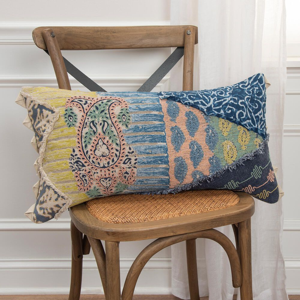 """Rizzy Home Geometric 14"""" x 26"""" Pillow Cover in Navy, , large"""