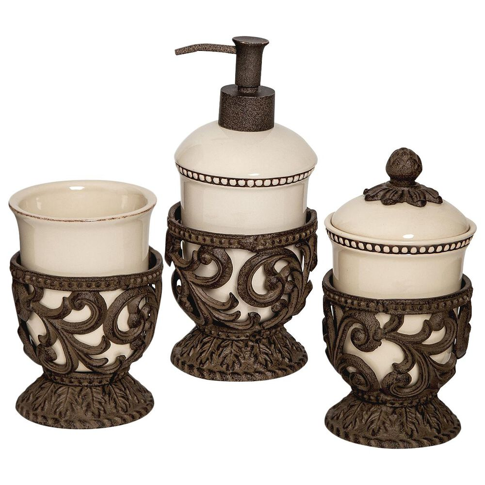 The Gerson Company GG Collection Acanthus Vanity Containers in Dark Brown (Set of 3), , large