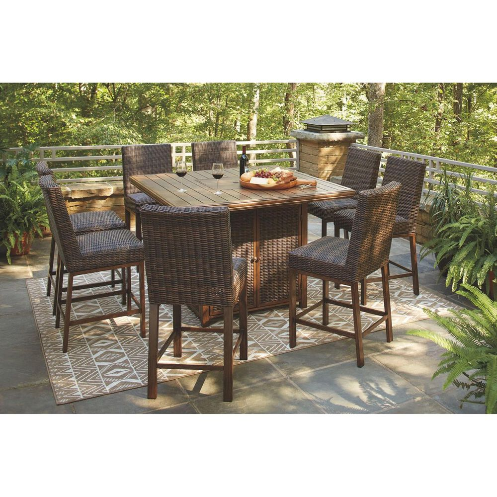 Signature Design by Ashley Paradise Trail Square Bar Table with Fire Pit 9-Piece Set, , large
