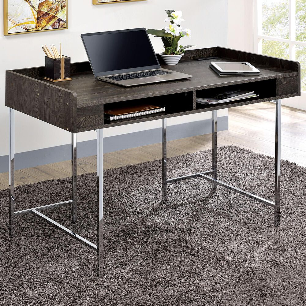 Furniture of America Webster Writing Desk in Brown/Chrome, , large