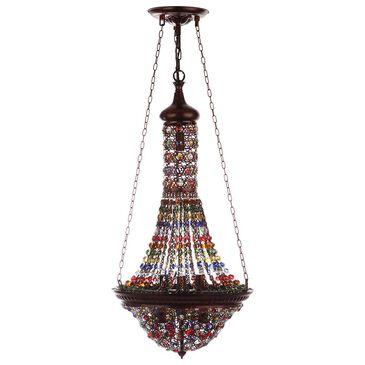 "Safavieh Moroccan Gentle 15.25"" Pendant Lamp in Dark Bronze/Multicolor, , large"