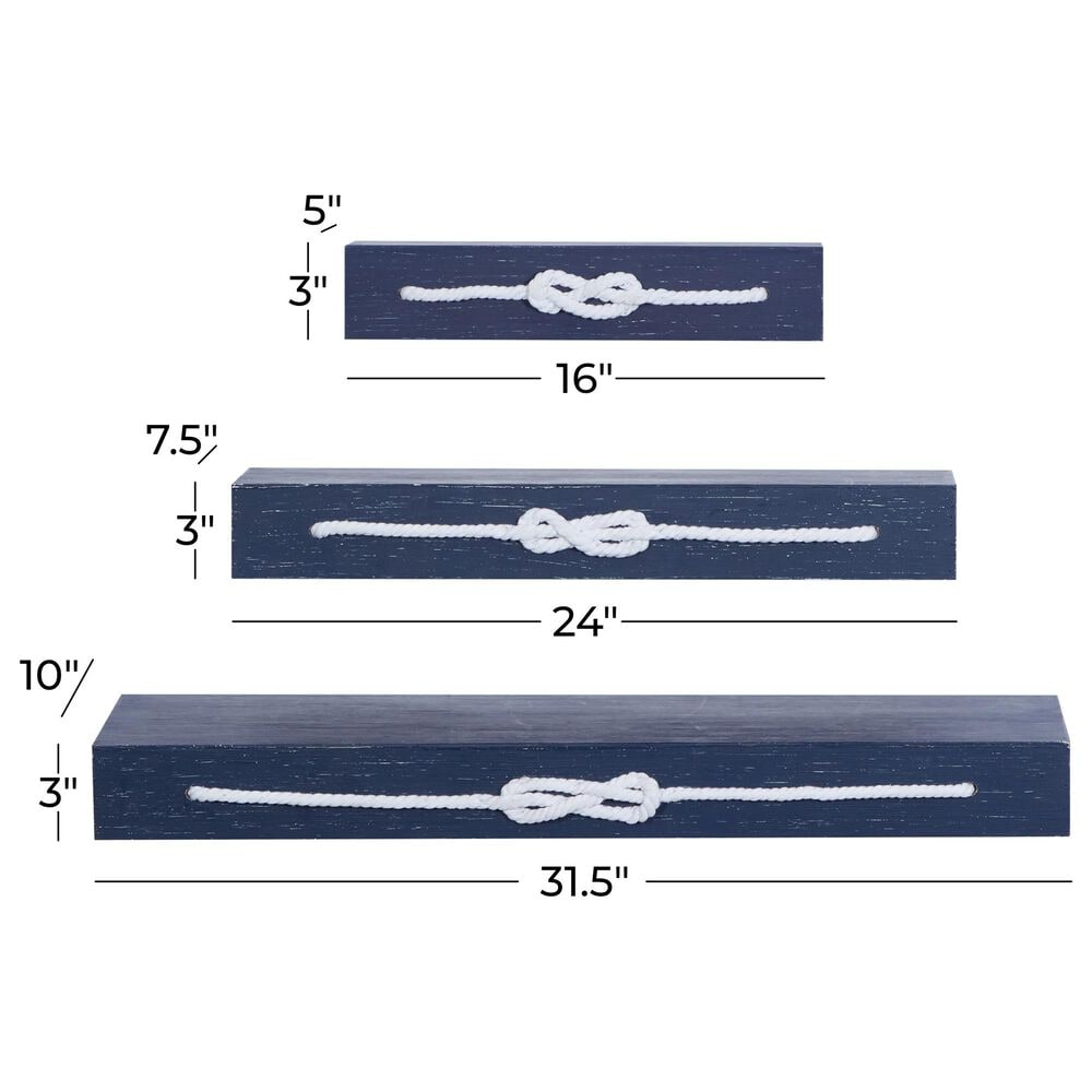 Maple and Jade Wooden Wall Shelf in Blue - Set of 3, , large
