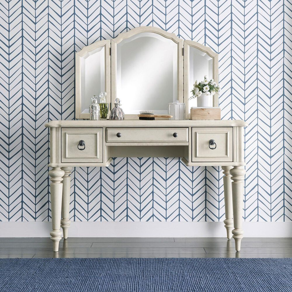Home Styles Provence Vanity in Antiqued White, , large
