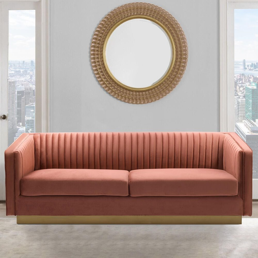 Blue River Miranda Sofa in Blush Velvet, , large