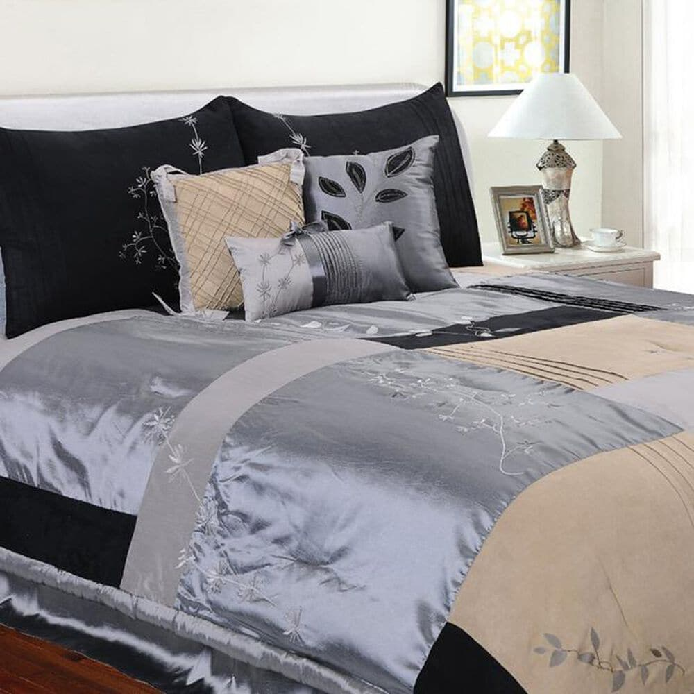 Epoch Hometex Back to Nature 7 Piece Twin Comforter Set in Charcoal, , large