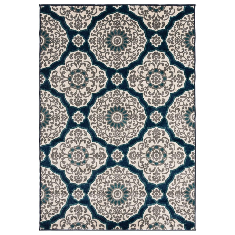"Central Oriental Terrace Tropic Halbur 2352NQEC.084 5' x 7'3"" Sapphire and Turquoise Area Rug, , large"