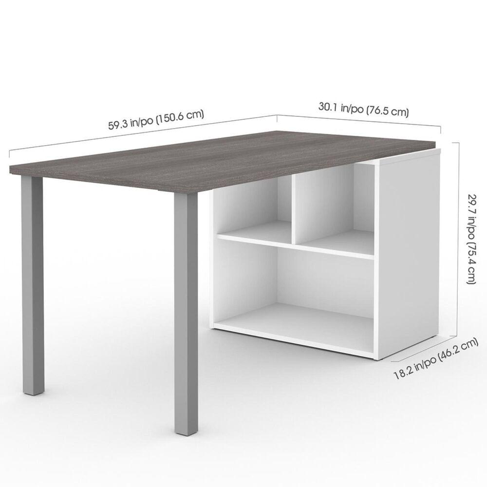 Bestar i3 Plus Workstation in Bark Gray & White, , large