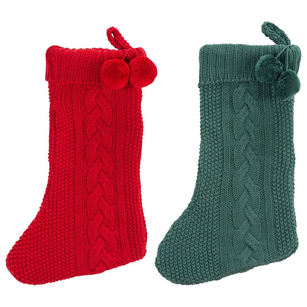 """Safavieh Nutmeg 12"""" Stocking in Red and Green (Set of 2), , large"""