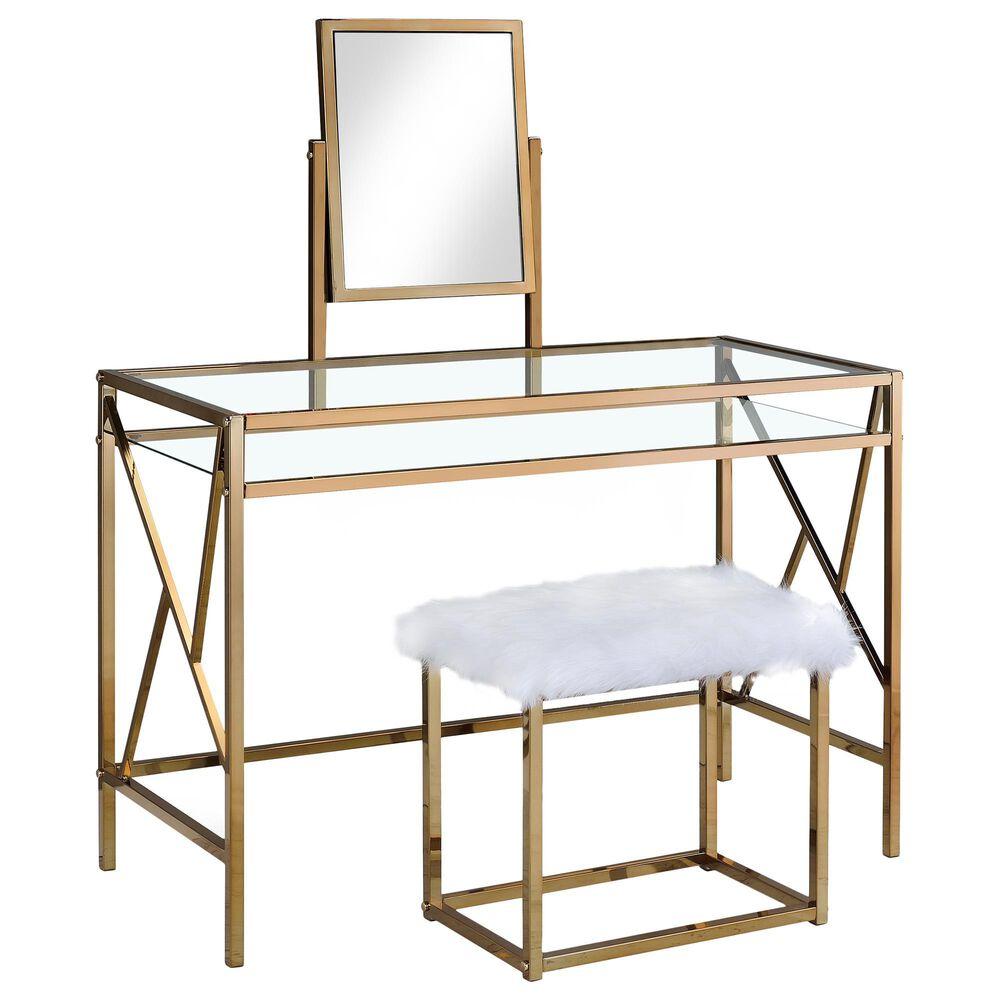 Furniture of America Estrada 3 Piece Vanity Set in Gold, , large
