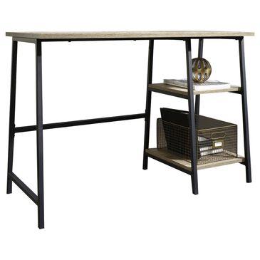 Sauder North Avenue Single Pedestal Desk in Charter Oak and Black, , large