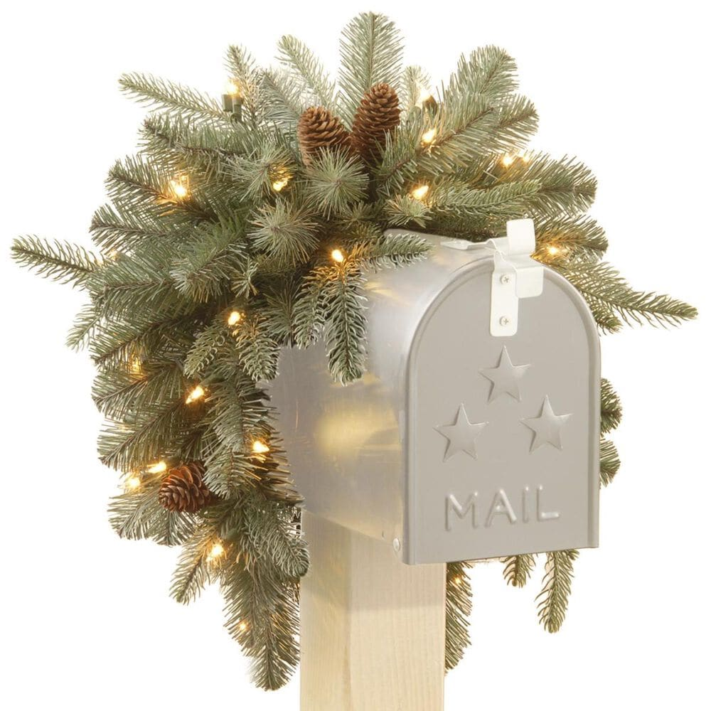 """National Tree 36"""" Frosted Arctic Spruce Mailbox Swag with Battery Operated Warm White LED Lights, , large"""