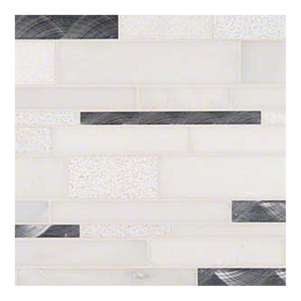 """MS International Moderno Blanco 12"""" x 18"""" Glass and Stone Mosaic Sheet, , large"""