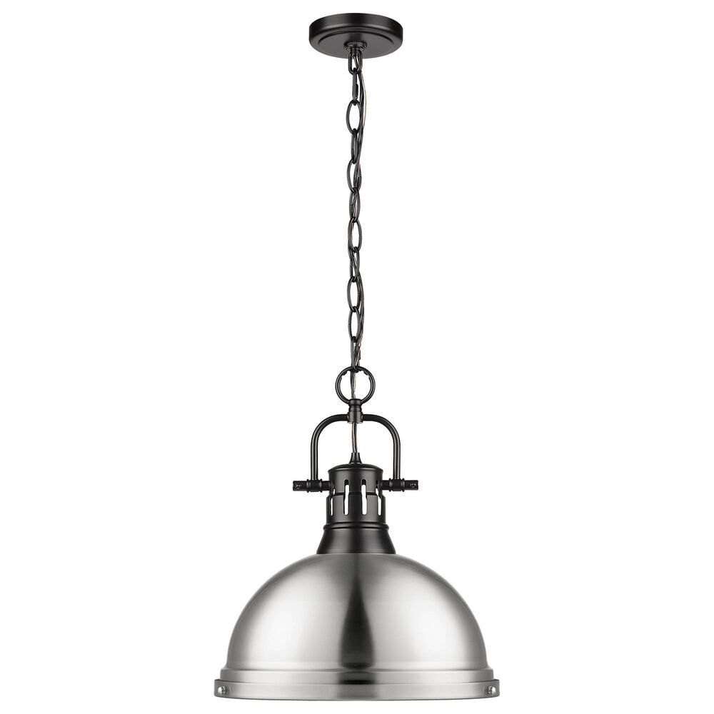 Golden Lighting Duncan Large Pendant in Pewter with Chain in Matte Black, , large