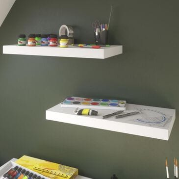 Bestar 2-Piece Small Floating Shelf Set in White, , large