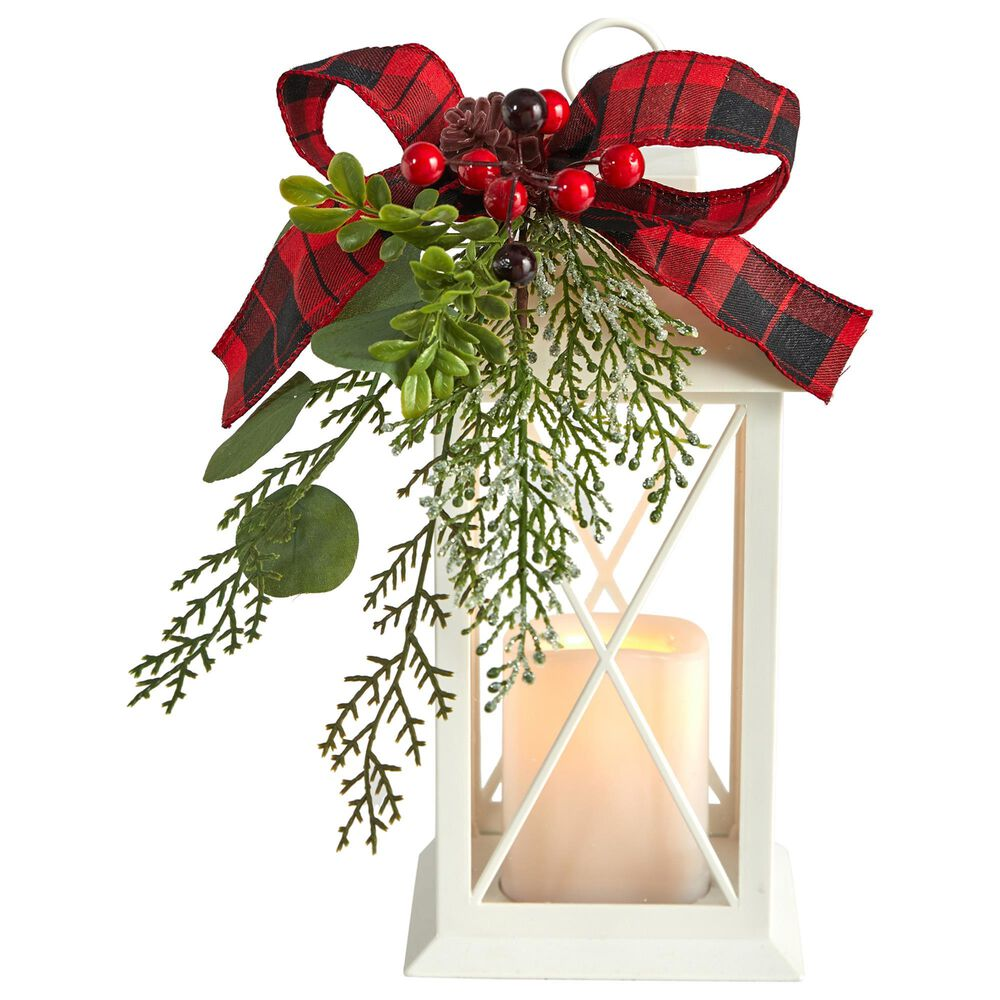 Nearly Natural Inc 12in. Holiday White Lantern With Berries, Pine and Plaid Bow Artificial Christmas Table Arrangement with LED Candle Included, , large