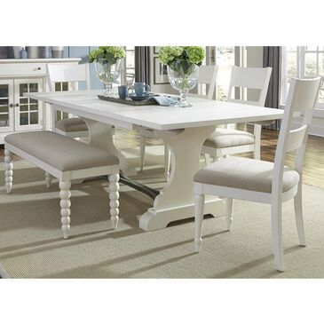 Belle Furnishings Harbor View II 6-Piece Ladder Back Dining Set with Bench in Linen, , large