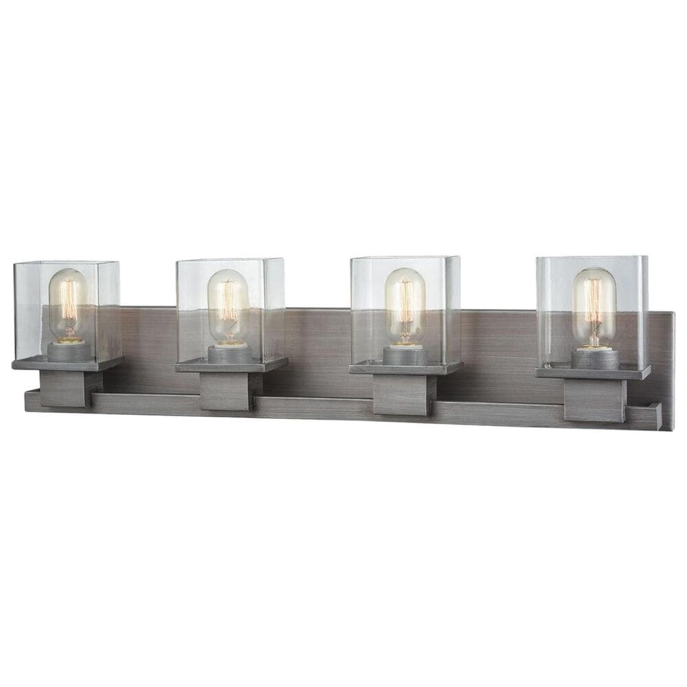 Stein World Hotelier 4-Light Vanity In Weathered Zinc With Clear Glass, , large