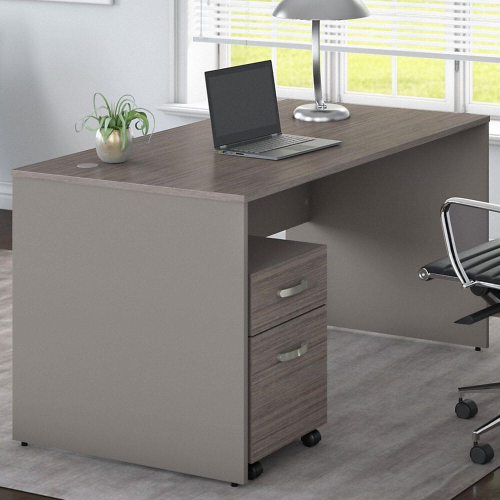 """Bush 60"""" Desk with File in Cocoa/Pewter, , large"""