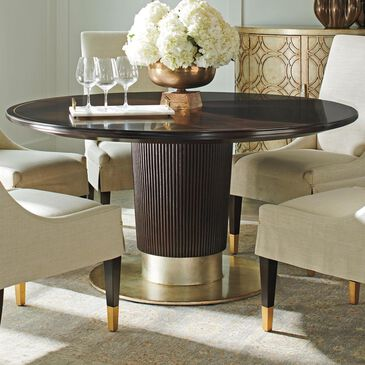 Lexington Furniture Carlyle Waldorf Dining Table in Walnut and Antiqued Silver - Table Only, , large
