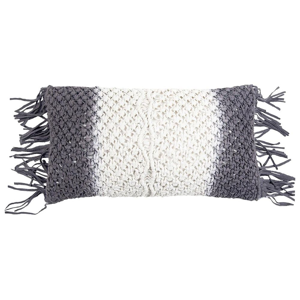 """Rizzy Home 11"""" x 21"""" Poly Fill Pillow in Gray, , large"""