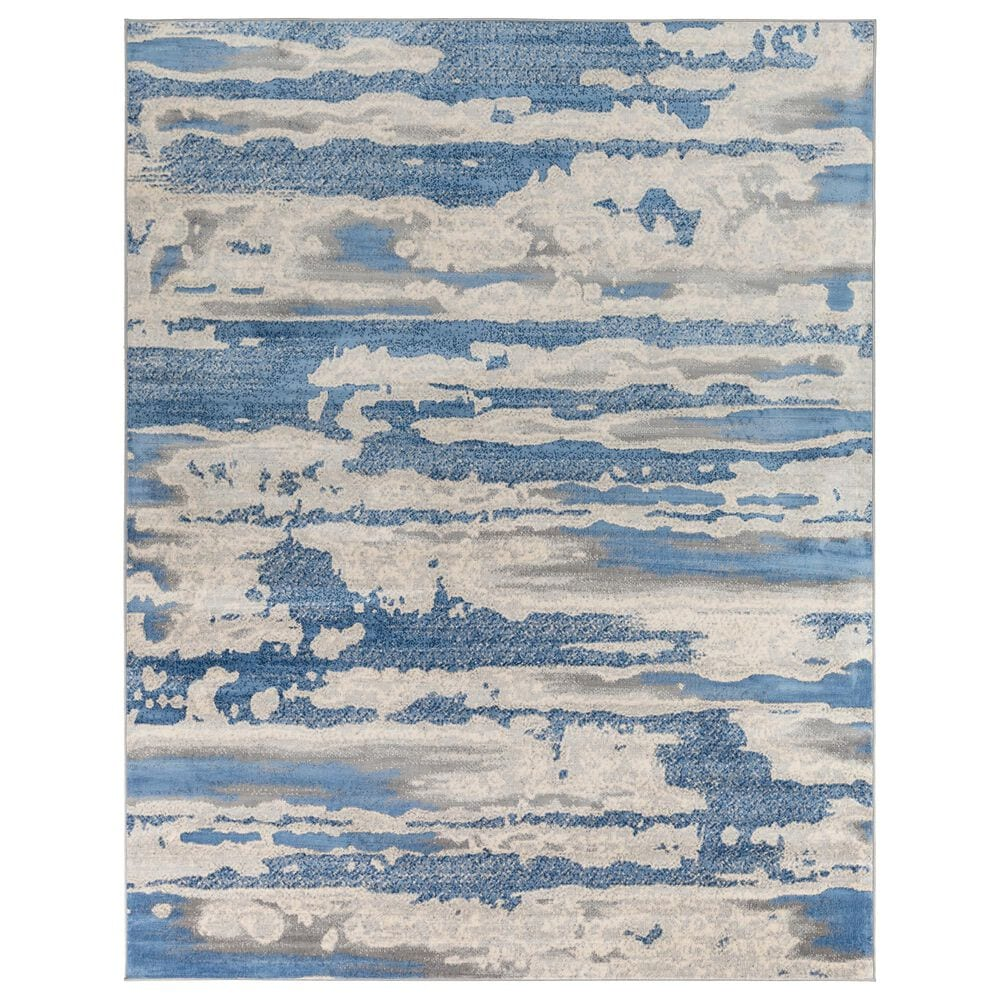 """Surya Monaco MOC-2312 6'9"""" x 9'9"""" Bright Blue and Silver Gray Area Rug, , large"""