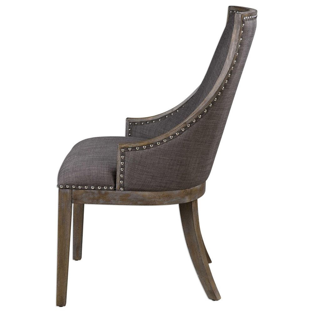 Uttermost Aidrian Accent Chair in Warm Charcoal Gray, , large