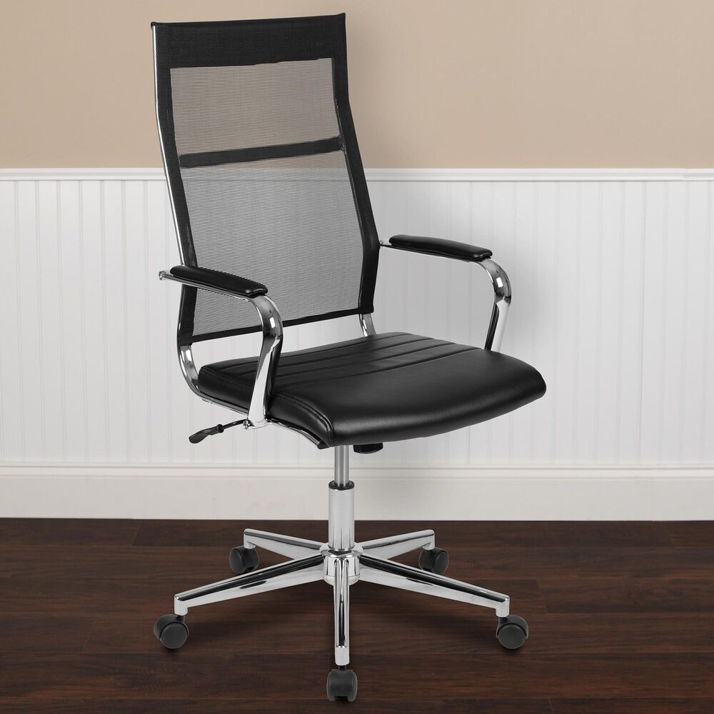 Flash Furniture Executive Swivel Chair in Black and Silver , , large