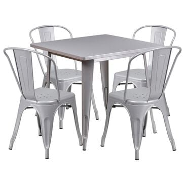 Flash Furniture 5-PieceTable Set in Silver, , large