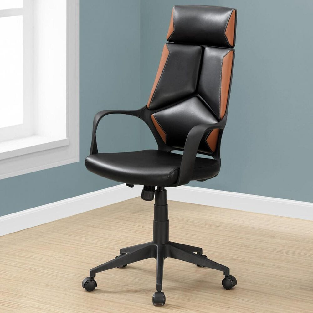 Monarch Specialties Executive Office Chair in Black and Brown Faux Leather, , large