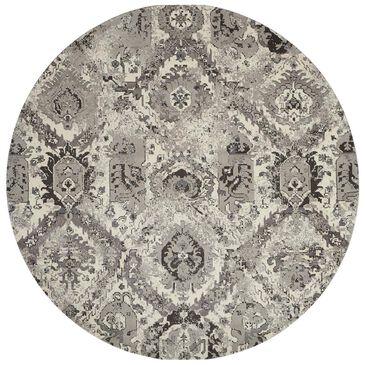 Nourison Twilight TWI03 8' Round Ivory Grey Area Rug, , large