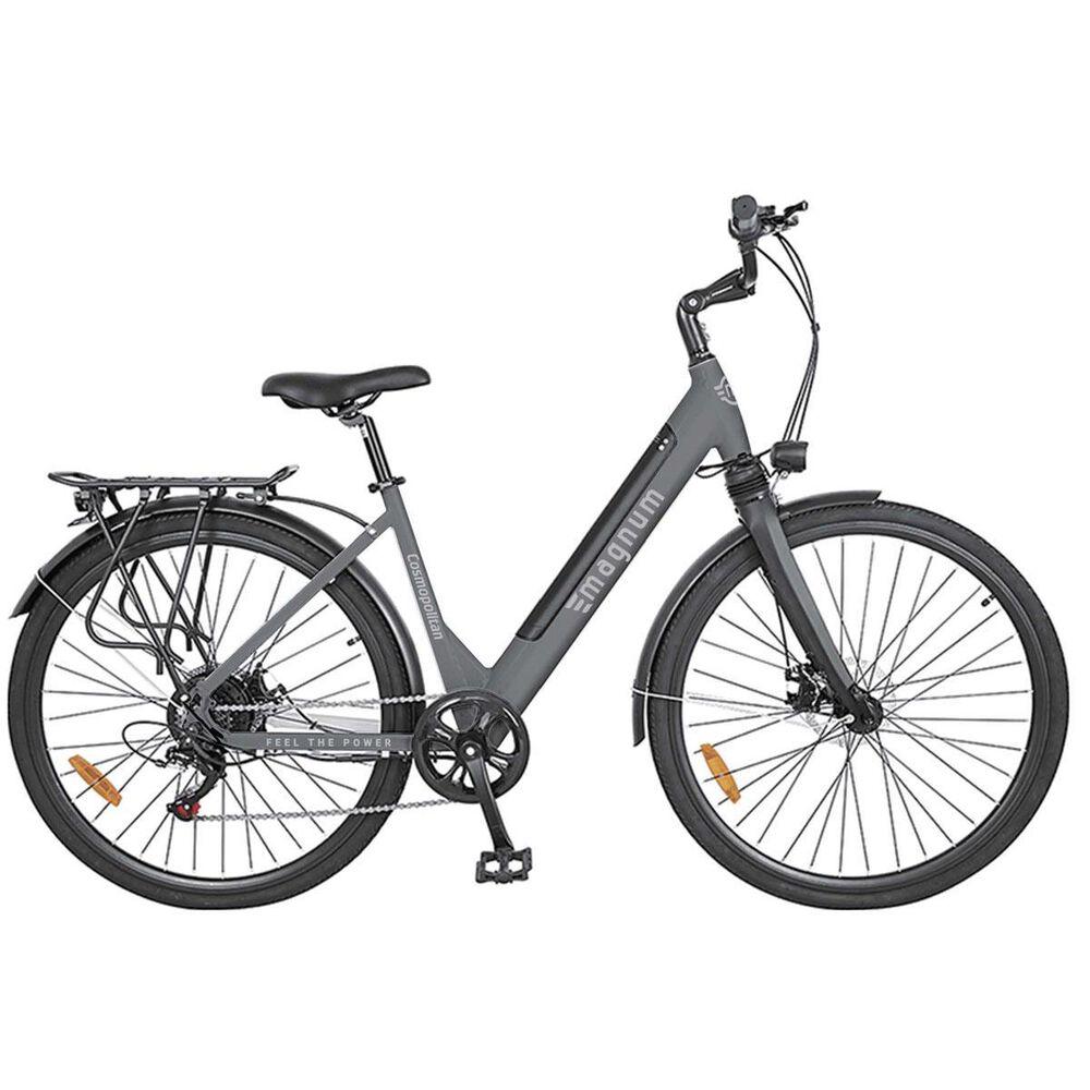 Magnum Cosmopolitan E-bike in Gray with Smart Bluetooth Black Bicycle Helmet, , large
