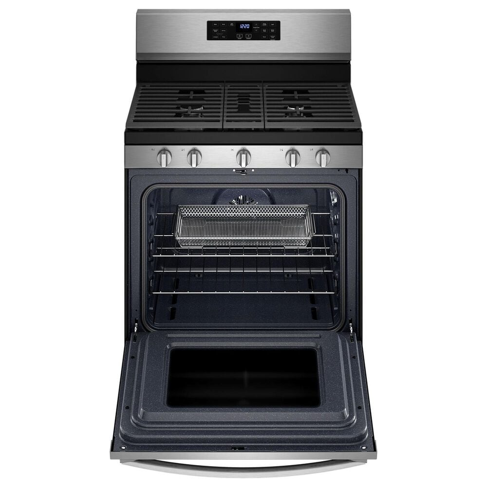 Whirlpool 2-Piece Kitchen Package with 5 Cu. Ft. Air Fry Gas Range and 2.1 Cu. Ft. Microwave in Stainless Steel, , large