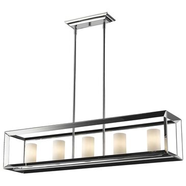 Golden Lighting Smyth 5-Light Linear Pendant in Chrome with Opal Glass, , large