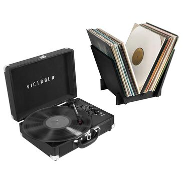 Victrola Journey+ Bluetooth Suitcase Record Player with Matching Record Stand in Turquoise, , large
