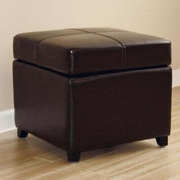 Baxton Studio Full Leather Storage Cube Ottoman in Dark Brown, , large