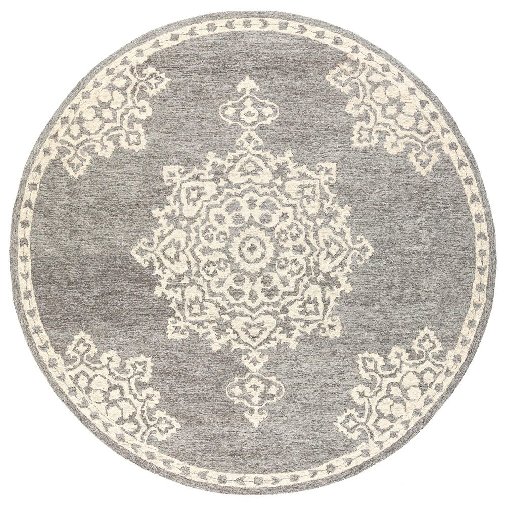Surya Granada GND-2310 8' Round Medium Gray, Beige and Charcoal Area Rug, , large