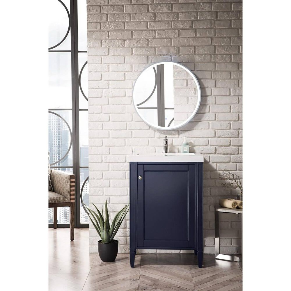 """James Martin Brittania 24"""" Single Bathroom Vanity in Navy Blue with White Glossy Resin Top, , large"""