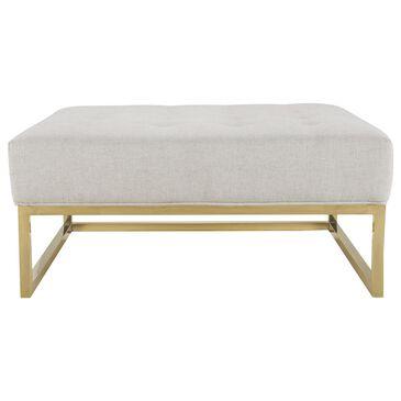 Tov Furniture Nova Metallic Beige Linen Ottoman, , large