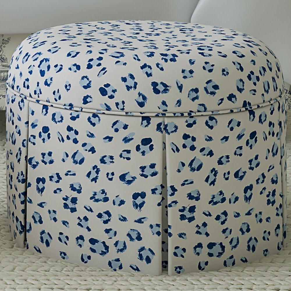 Skyline Furniture Ely Ottoman in Brush Cheetah Blue, , large